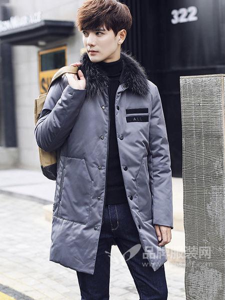 阔佬·史迪文男装时尚休闲毛领修身保暖中长羽绒服