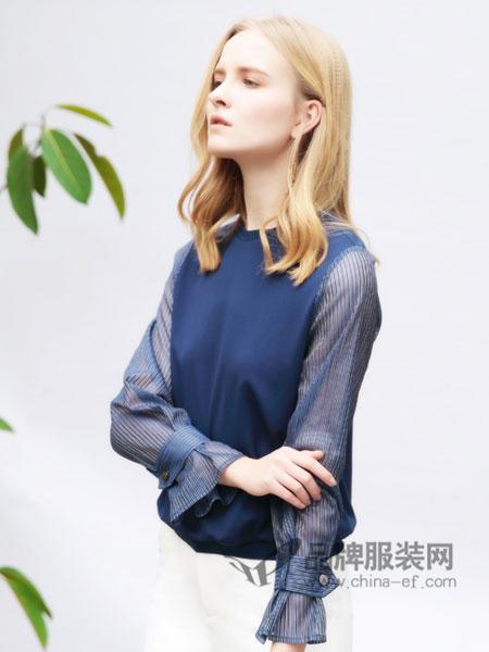 樊羽女装2018春夏时尚优雅雪纺拼接上衣