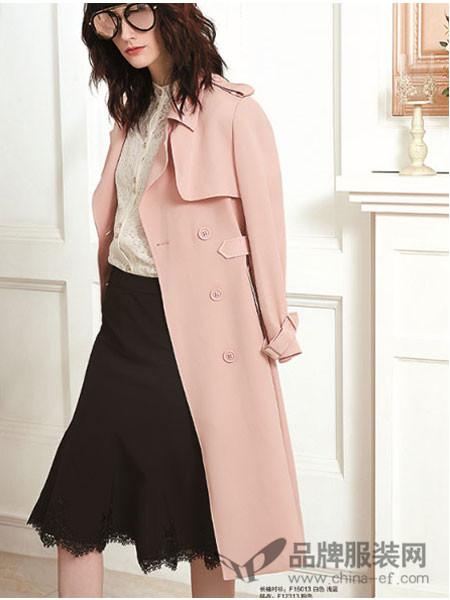 赫梵茜女装2018春夏粉色长袖直筒风衣