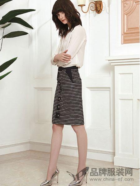 赫梵茜女装2018春夏条纹中长款半裙
