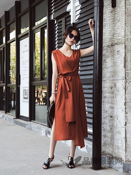 贝银BGV女装2018春夏无袖时尚高腰气质连衣裙