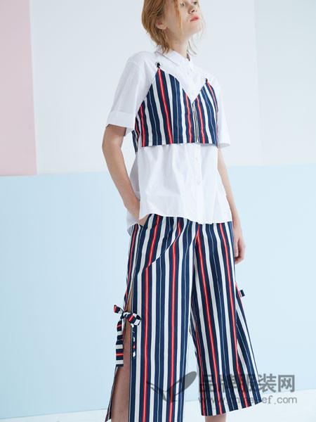 水淼SHUIMIAO女装2018春夏条纹时尚潮流套装