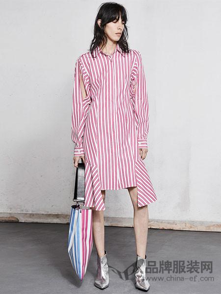 Edition10 mo&co.女装2018春夏条纹棉荷叶边长袖衬衫裙