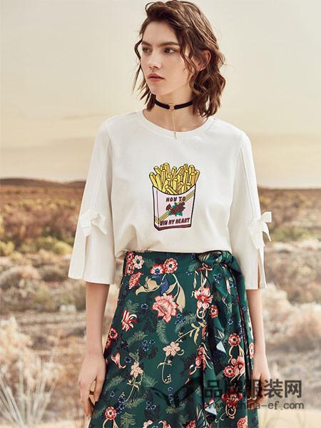 ONLY女装2018春夏印花蝴蝶结宽松T恤