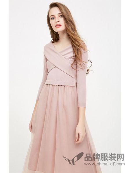 VERO MODA女装2018春夏七分袖针织拼接连衣裙