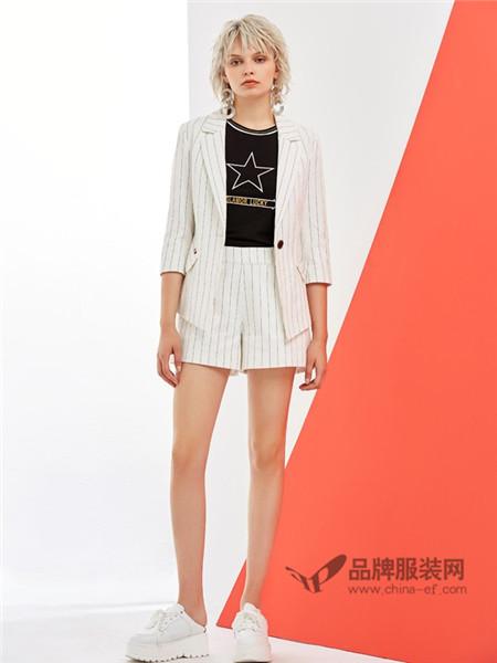 格来米亚女装2018春夏时尚休闲条纹短袖西装套装