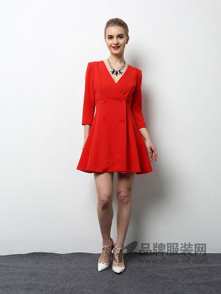 风霖女装2018春夏通勤连衣裙中长款修身职业气质显瘦长袖大摆裙