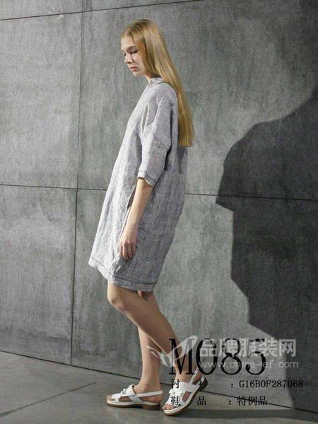 衣琳女装2018春夏麻长袖灰色中长款复古文艺连衣裙