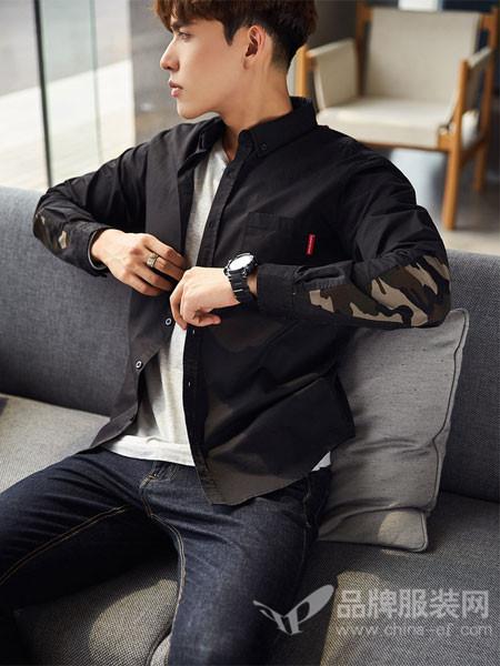 唐狮男装2018春夏青少年黑色拼接衬衣个性时尚修身寸衫