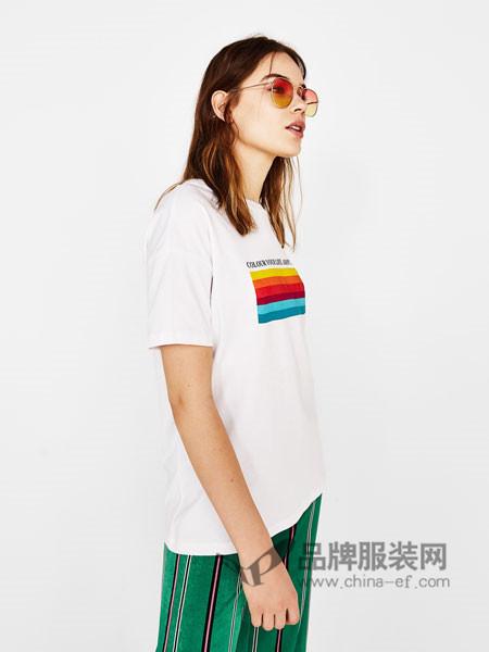 Bershka女装2018春时尚休闲印花环保棉T恤