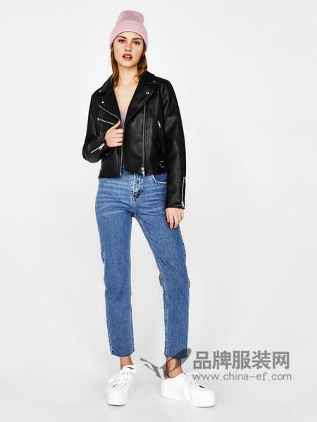 Bershka女装2018春新款黑色机车夹克短外套皮衣