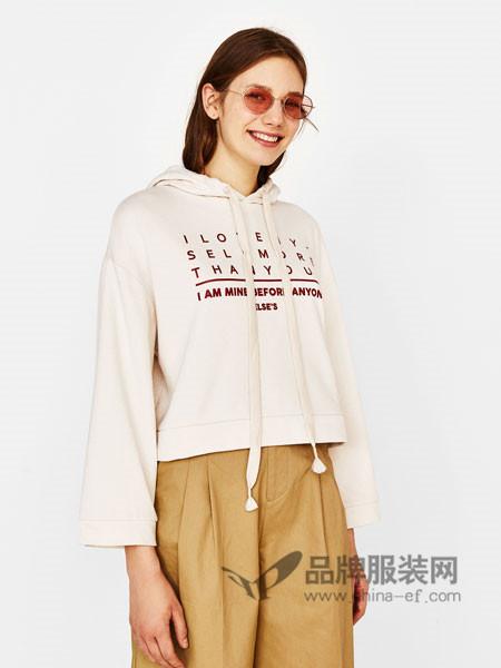 Bershka女装2018春时尚休闲字母宽袖运动衫