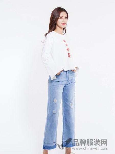 逸阳牛仔2018春夏高腰宽松直筒八分牛仔裤女显瘦毛边破洞