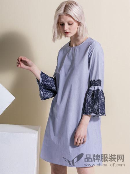縱橫二千女装2018春夏清新条纹七分袖蕾丝拼接裙