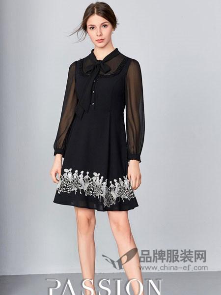 钡萱女装2018春夏新款优雅撞色刺绣显瘦连衣裙
