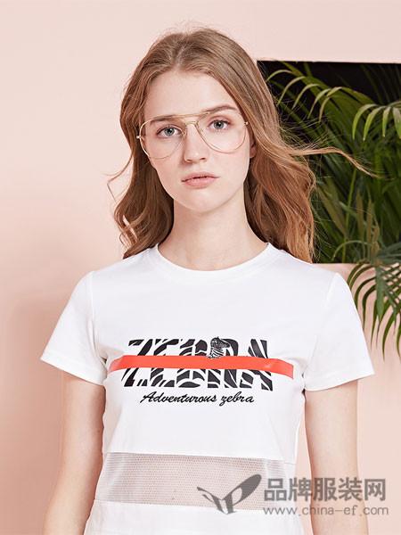 阿依莲女装2018夏季短袖T恤女网纹拼接性感上衣短袖白色百搭