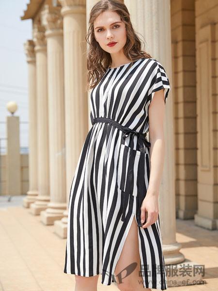 金蝶茜妮女装2018夏季条纹收腰显瘦开叉连衣短裙