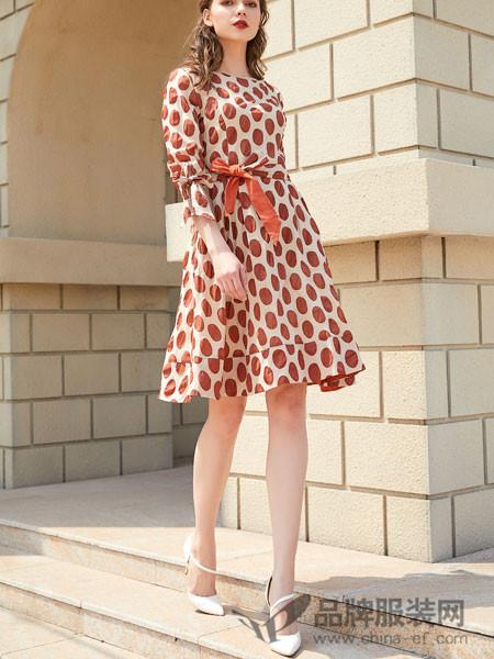 金蝶茜妮女装2018夏季长袖高腰休闲时尚气质连衣裙