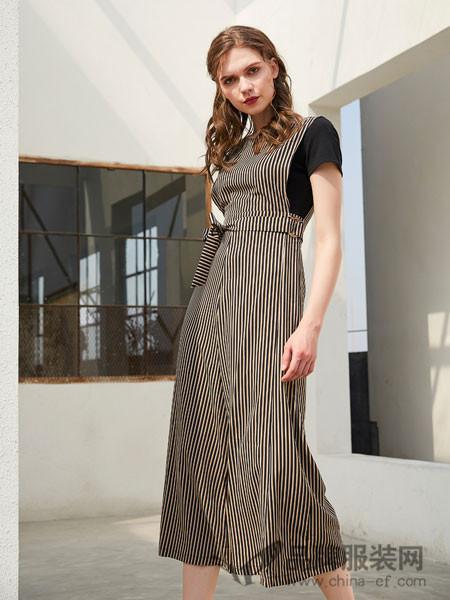 金蝶茜妮女装2018夏季条纹拼接假两件连衣中长裙