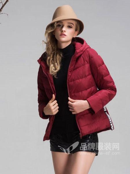 阿伊米女装秋冬时尚修身短装连帽保暖羽绒服