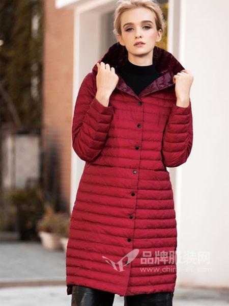 阿伊米女装秋冬休闲时尚中长连帽羽绒服