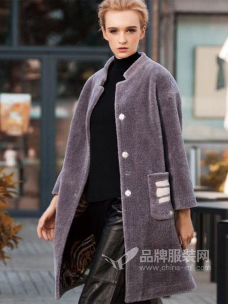 阿伊米女装秋冬时尚修身毛绒立领中长保暖外套