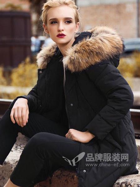 阿伊米女装秋冬休闲时尚修身中长保暖羽绒服外磁