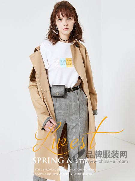 朗文斯汀女装2018春夏新品学生韩版修身卡其中长款过膝bf风衣外套
