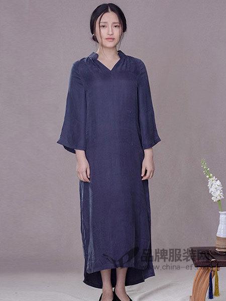 清水女装2018春夏氨丝宽松透气九分袖长裙立领复古旗袍连衣裙