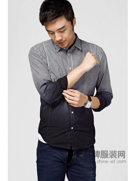 G5G6牛仔时尚个性休闲拼接色长袖衬衣