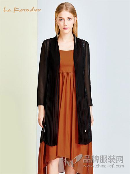 拉珂蒂女装2018春夏黑色薄款中长款修身外套