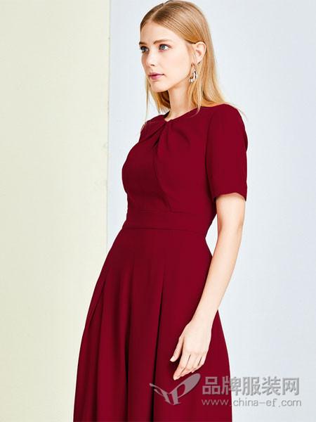 拉珂蒂女装2018春夏红色长款短袖名媛连衣裙