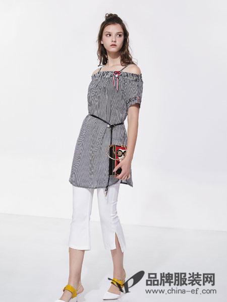 欧娅铂女装2018夏季条纹修身一字吊带上衣