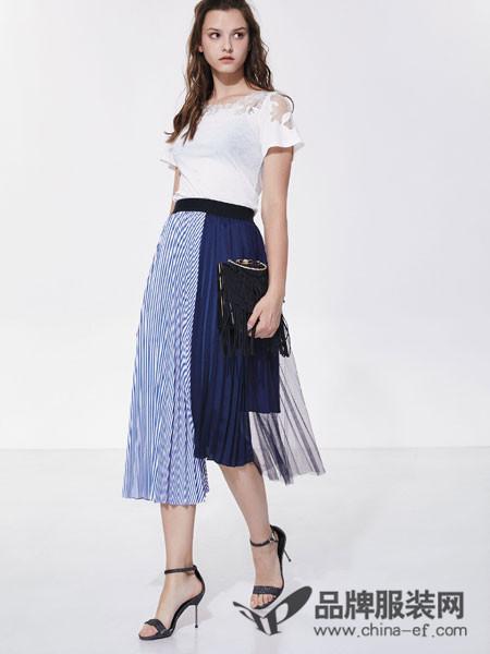 欧娅铂女装2018夏季条纹拼接高腰修身中长裙