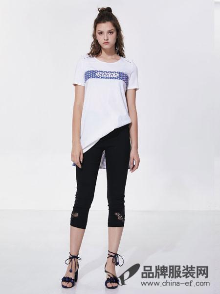 欧娅铂女装2018夏季简约气质百搭白色t��上衣