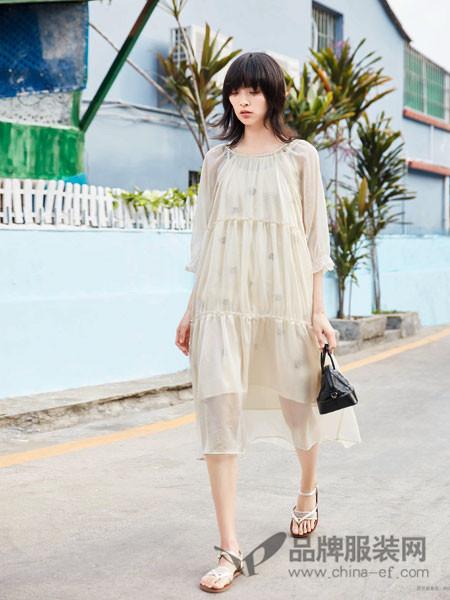 BUKHARA布卡拉女装2018夏季宽松休闲网纱连衣裙
