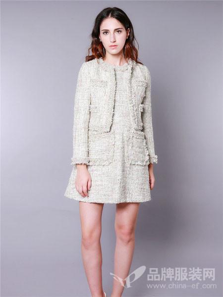 V.Charm女装粗花呢钉珠短款外套