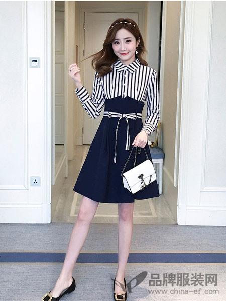 知默女装2018春夏韩版时尚修身显瘦收腰条纹衬衫连衣裙