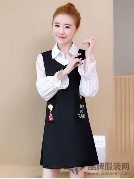 知默女装2018春夏加大刺绣衬衣领中长款连衣裙