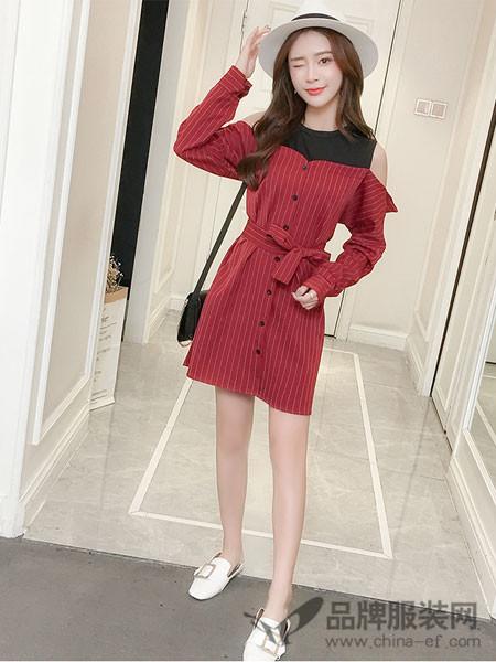 知默女装2018春夏韩版时尚宽松学生露肩条纹衬衫裙