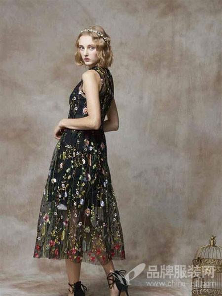 斐格思女装2018夏季无袖时尚收腰刺绣网纱连衣裙
