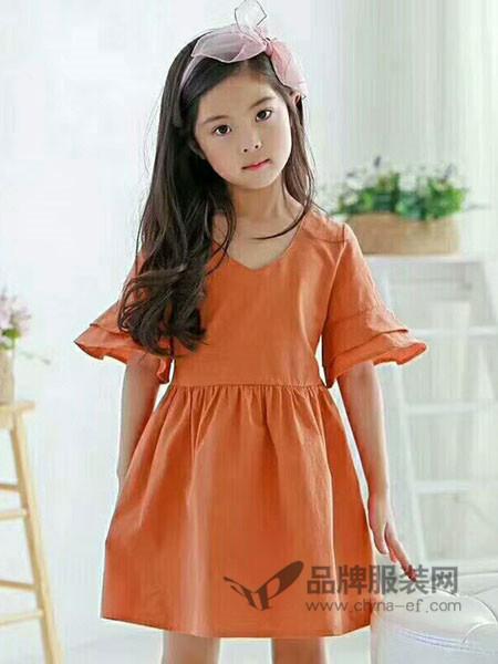 比奇童话童装2018春夏时尚简约短袖连衣裙