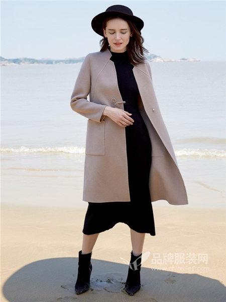 古袖女装2018秋冬欧式大气拼接大口袋系带毛呢外套