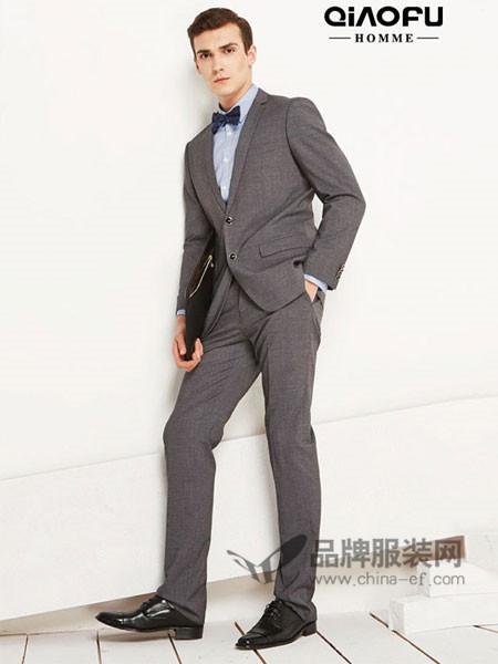 乔夫男装商务休闲格纹西服套装韩版修身职业上班西装
