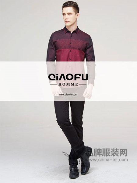 乔夫男装时尚休闲撞色长袖衬衣