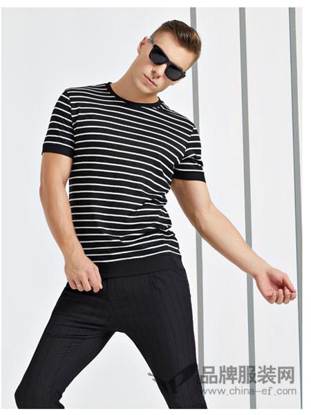 法拉狄奥男装2018夏季黑白条纹时尚上衣