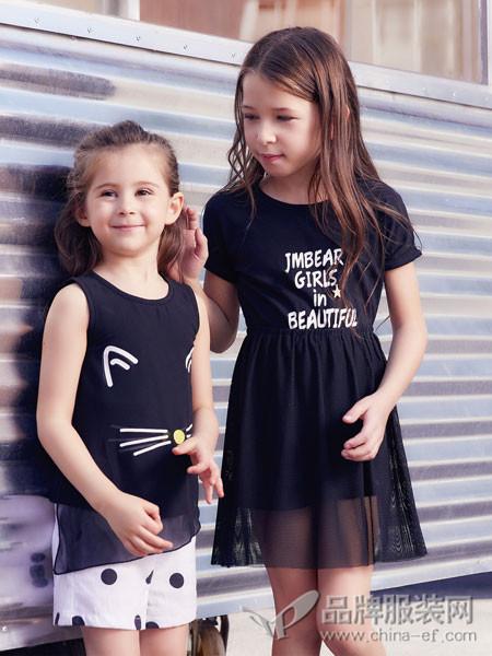 杰米熊童装2018夏季黑色休闲显瘦女童连衣网纱裙