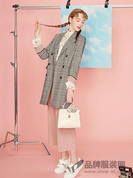 THE CLIZY女装2018春夏格子修身时尚通勤上衣西装