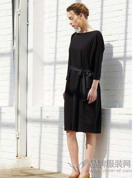 ORIGIN 安瑞井女装2018春夏黑色显瘦收腰时尚连衣裙