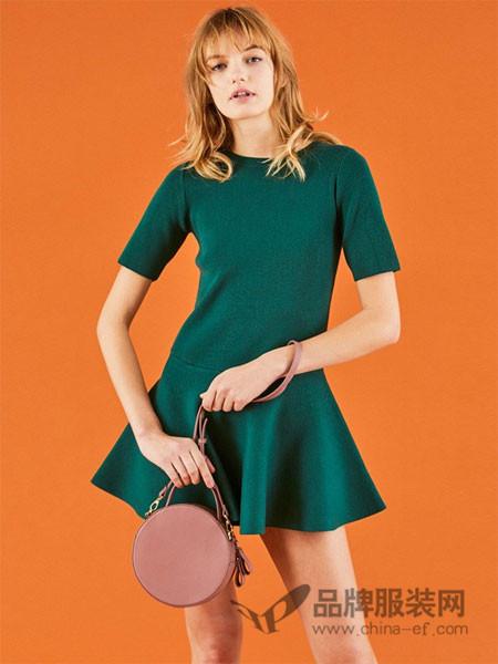 Snidel女装2018春夏绿色修身时尚收腰连衣裙